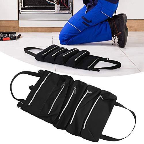 Bolsa de almacenamiento de coche, bolsa de almacenamiento de herramientas encerada duradera de tela Oxford con 5 bolsillos con cremallera para herramientas pequeñas