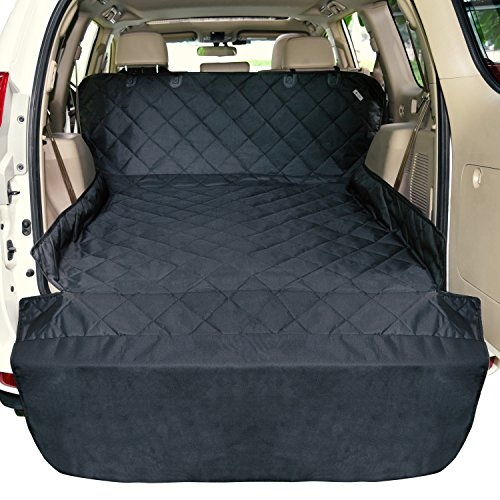 F-color SUV Cargo Liner for Dogs Waterproof Pet Cargo Cover Dog Seat Cover Mat for SUVs Sedans Vans with Bumper Flap Protector, Non-Slip, Large Size Universal Fit, Black