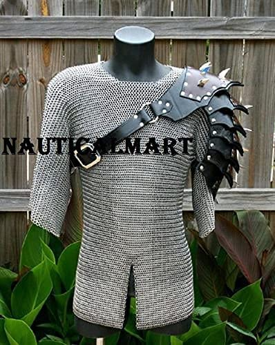 Nautical-Mart Medieval Selling Knight New product!! Leather Reenactment - Pauldrons LA
