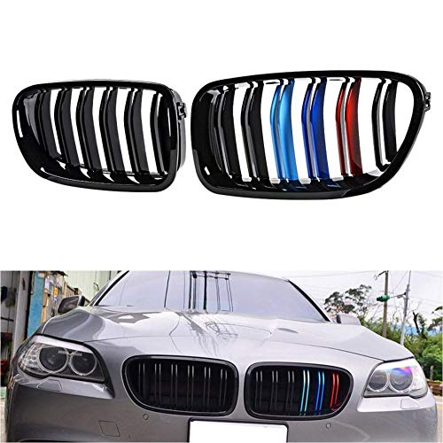 GIMAE 2pcs for 2011-2016 BMW F10 F11 5-Series Sedan Wagon fit BMW 520 528 530 535 550 M5 Glossy Black M-Tri Color Kidney Grille Front Bumper Hood ABS Plastic Grille GM22