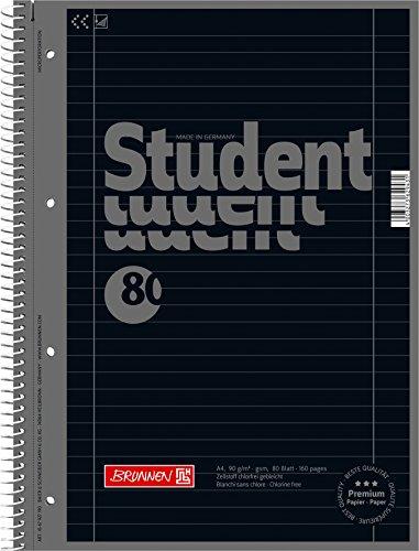5 Collegeblöcke Student A4, Colour Code onyx, liniert (Lin. 27), 80 Blatt, 90 g/m²