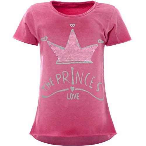 BEZLIT Mädchen Wende-Pailletten T-Shirt Krönchen-Motiv Kurzarm 22494 Rosa Größe 140