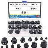 Glarks 100Pcs 7 Sizes Black Nylon Dome Acorn Bolt Cup Nuts Set, M3, M4, M5, M6,...