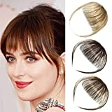 EMERLILY Air Bangs Hair Clip in Bangs Hair Extensions Flat Front Face Wispy Fringe Bangs with Temples Human Hair Pieces for Women