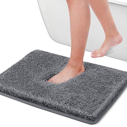 Cumay Badteppich rutschfeste Badematte für Badezimmer, wasserabsorbierend, weiche Mikrofaser, maschinenwaschbar, Badteppich für Duschvorleger, Bequeme Badezimmermatte, grau, 40x60cm
