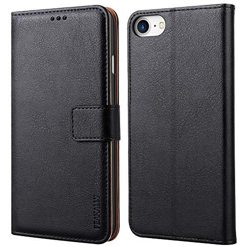 Peakally Cover per iPhone SE 2020/6/6S/7/8, Flip Caso in PU Pelle Premium Portafoglio Custodia per iPhone SE 2020/6/6S/7/8, [Kickstand] [Slot per Schede] [Chiusura Magnetica]-Nero