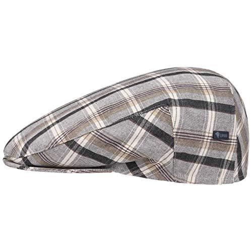 Lipodo Inglese Cotton Flatcap Damen/Herren - Karocap Made in Italy - Schiebermütze mit Karomuster - Sommercap aus 100% Baumwolle - Sportcap Frühjahr/Sommer grau 57 cm