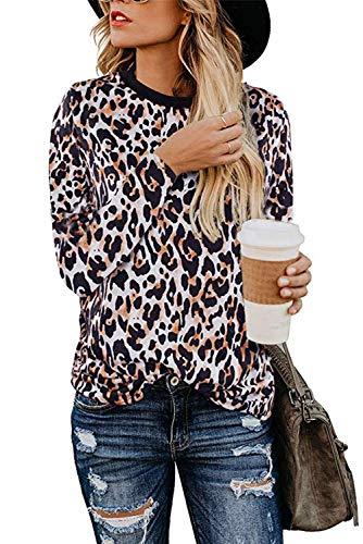Aranmei Blusa de Mujer Camisa Estampado de Leopardo Cuello Redondo Manga Corta/Larga Camisetas de Gasa Tops