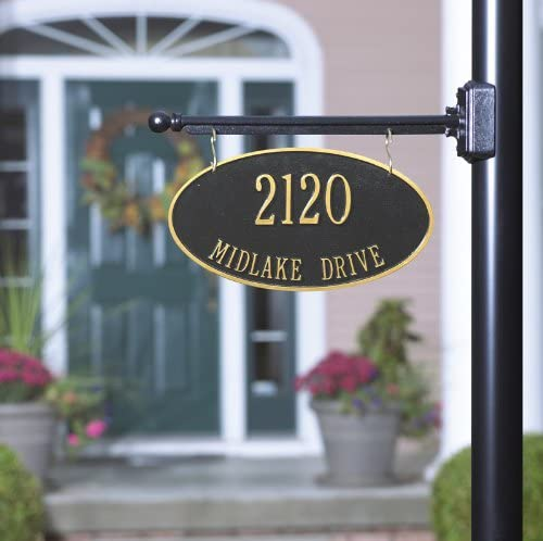 2 Sided Hanging Oval Aluminum Address Plaque With Bar 2 Lines Everything Else Amazon Com