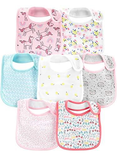 Simple Joys by Carter\'s 7-Pack Teething Bibs Winter-Zubehör-Set, Weiß/Rosa/Blaugrün,Floral, Einheitsgröße, 7er-Pack