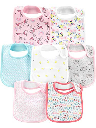 Simple Joys by Carter's Girls' 7-Pack Teething Bibs, Multi, One Size