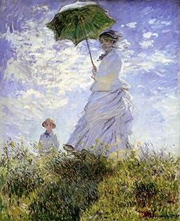 モネ・「散歩、日傘をさす女性」 プリキャンバス複製画・ 【立体仕上げ】(6号サイズ)