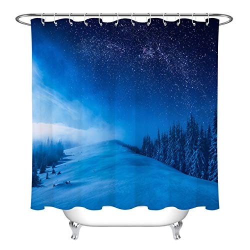 Starry sky christmas winter night mountain forest...