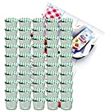"""MamboCat - Set di 50 vasetti in vetro per marmellate e conserve 230 ml coperchio a vite 82 mm a quadretti verdiin omaggio libro di ricette """"Gelierzauber"""" della Diamant-Zucker (lingua italiana non garantita)"""
