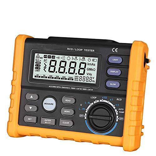 JIAHONG Multímetro RCD Tester, Tester Digital interruptor diferencial RCD lazo de resistencia de multímetro for el viaje de salida de corriente, la medición de tiempo, el contacto de medición de volta