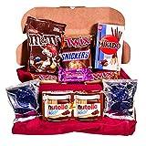 Caja regalo de bombones y chocolates - Nutella Go, Snickers, Twix, Mikado, Mini Oreo, M & M´s, Minihuesitos. Regalo original para cumpleaños, navidad y San Valentín