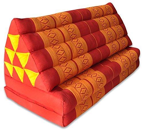Wifash Coussin Thailandais Triangle XXL avec Assise 2 Plis, détente, Matelas, kapok, Fauteuil, canapé, Jardin, Plage Rouge/Orange (81017)