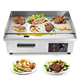 Dyna-Living Commercial Electric Countertop Griddle 3000W Stainless Steel Flat Top Griddles Grill Combo Adjustable Temperature Commercial Griddles for Vegetables and Meat