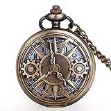 CMHC Reloj de Bolsillo del diseño del Reloj de Bolsillo Exquisito Medio Cazador Rueda de Engranaje Cuarzo de la Vendimia Collar Chian Mejor Regalo for Hombres Mujeres Niños