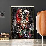 Kingkoil Colorido Lion Graffiti Lienzo Pintura Abstracta Animal Arte De La Pared Pósteres Y Estampad...
