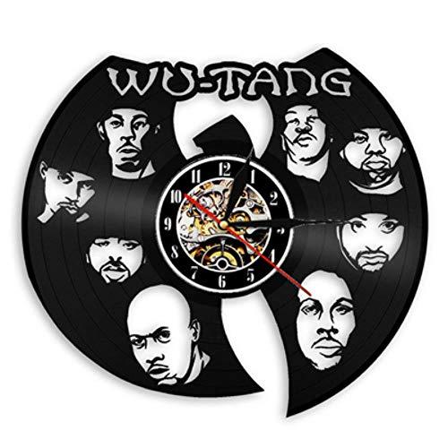 MNHI Reloj de Pared de Disco de Vinilo Vintage Diseño Moderno Tema de música WU Tang Clan Hip-Hop Reloj de Banda Reloj de Pared Decoración para el hogar Regalo para fanáticos, 5