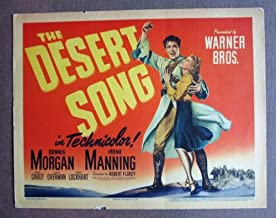 CX08 Desert Song DENNIS MORGAN/MANNING beautiful '43 TC.  Here s a terrific TITLE lobby card from the original release of THE DESERT SONG featuring a great image of DENNIS MORGAN and IRENE MANNING.    Lobby card is in VERY GOOD-condition. No pinholes, no stains, no tears, two tiny chips on the upper and lower borders.       A lobby card is an 11 x 14 inch placard advertising a movie. They were displayed in the theatre lobby to entice moviegoers to go to the box office and buy a ticket.