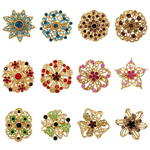 WeimanJewelry Gold Tone Lot 12pcs Multicolor Crystal Rhinestone Flower Brooches Lapel Pins for DIY Bridal Wedding Bouquets