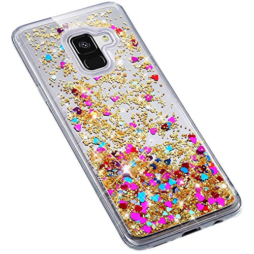 Uposao Samsung Galaxy A8 2018 Coque en Glitter,Liquide Paillettes Amour Motif Transparente Clear View Strass Brillante Ultra-Mince Silicone TPU Souple Bumper Case Housse Etui de Protection,Or