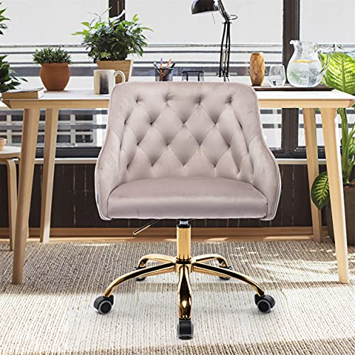 SSLine Velvet Office Chair,Modern Home Office Chairs Desk Chairs with Gold Metal Legs,Adjustable Swivel Armchair Vanity Chair Nice Task Chair for Office, Living Room,Bed Room (Grey)