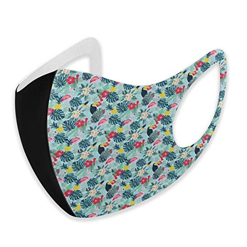 Stofmasker Patroon Met Flamingo Ananas Toucan En Monstera Bladeren Eiland Planten En Vogels mond maskers unisex gezichtsmaskers Medium Veelkleurig