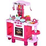 HOMCOM Set de Juguetes de Cocina para Niños Mayores de 3 Años Juegos de rol Temprano Educativo con 38 Accesorios Incluidos 78x29x87 cm Rosa