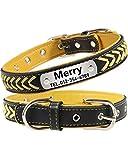 Taglory Personalisiertes Hundehalsband Leder, Hundehalsband mit Name und Nummer für Extra Kleine Hunde, Gelb