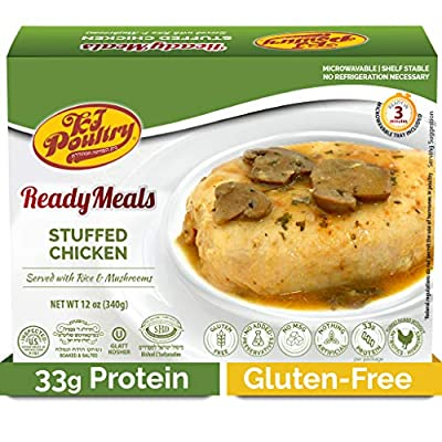 Kosher Mre Meat Meals Ready to Eat, Gluten Free Stuffed Chicken Breast Rice (Parent) - Prepared Entree Fully Cooked, Shelf Stable Microwave Dinner ? Travel, Military, Camping, Emergency Survival Food