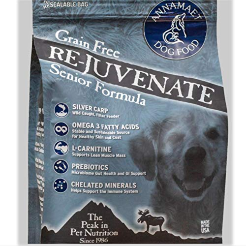 Annamaet REJUVENATE Senior Dry Dog Food, 12 Lb. Bag. with Wild Caught Silver Carp Grain Free Senior Dog Food