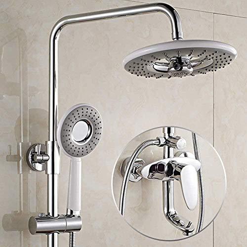 Baño Sistema de ducha de lluvia Juego de grifos de ducha de pared con cabezal de ducha de lluvia de alta presión y juego de cabezal de ducha de mano Ducha de baño de lluvia