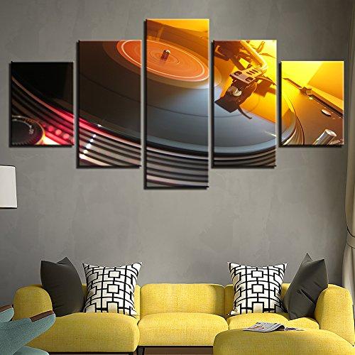 WJDJT Cuadro En Lienzo 200X100Cm Impresión De 5 Piezas Tocadiscos De Consola DJ De Música Tejido No Tejido Impresión Artística Imagen Gráfica Decoracion De Pared Sala De Estar Dormitorio