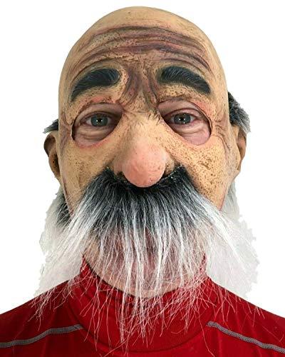 Johnnies - Maschera da uomo anziano, giuseppe, uomo calvo, baffi grigi, taglia unica, realistico nonno e uomo bruciato, maschere di Halloween, raccapriccianti, movimento della bocca, mento