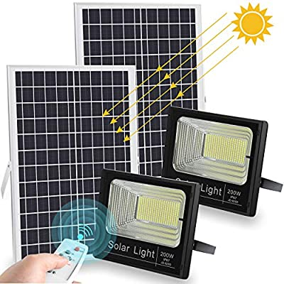 200W Solar Flood Lights Outdoor Dusk to Dawn 20000 LM Remote Control Solar Powered Flood Light IP67 Waterproof White 6500K (2 Pack)
