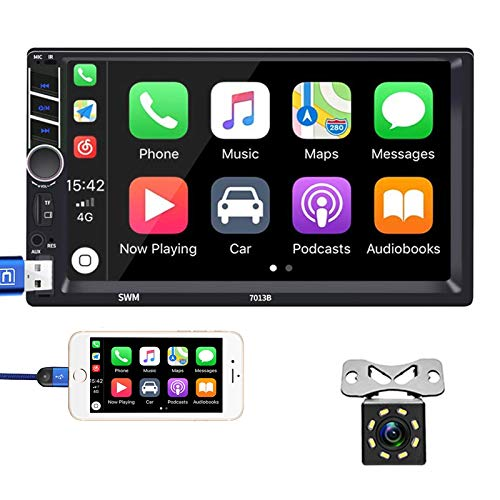Hikity Car Stereo Double Din Carplay 7 Inch Touchscreen Bluetooth FM Radio with USB AUX-in RCA Rear View Camera Input Port Support Mirror Link Android iOS Phone + 8 LEDs Backup Camera & Remote