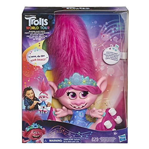 Trolls DreamWorks World Tour Haartanz Poppy, interaktive, sprechende und singende Puppe mit beweglichen Haaren, für Mädchen und Jungs ab 4 Jahren