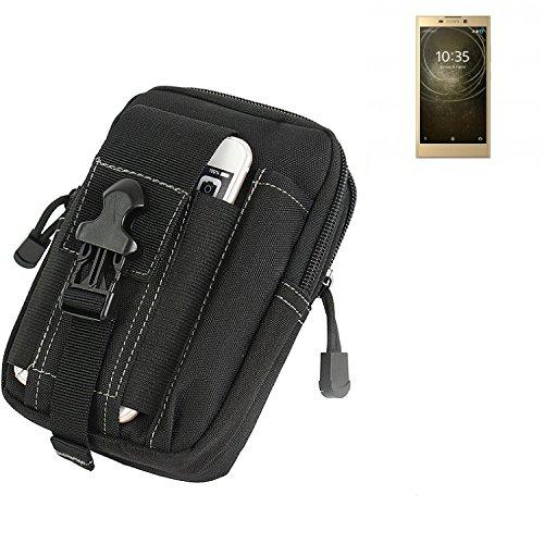 K-S-Trade® Gürtel Tasche Für Sony Xperia L2 Dual-SIM Gürteltasche Holster Schutzhülle Handy Hülle Smartphone Outdoor Handyhülle Schwarz Zusatzfächer