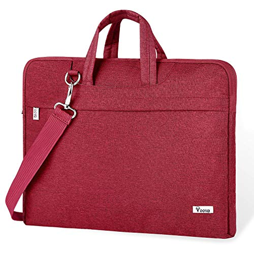 Voova Laptop Bag,17 17.3 Inch Laptop Sleeve Carrying Case Slim Computer Messenger Shoulder Briefcase with Strap Compatible with MacBook Pro/New Razer Blade Pro 17 Dell Asus Acer Hp Notebook,Wine Red