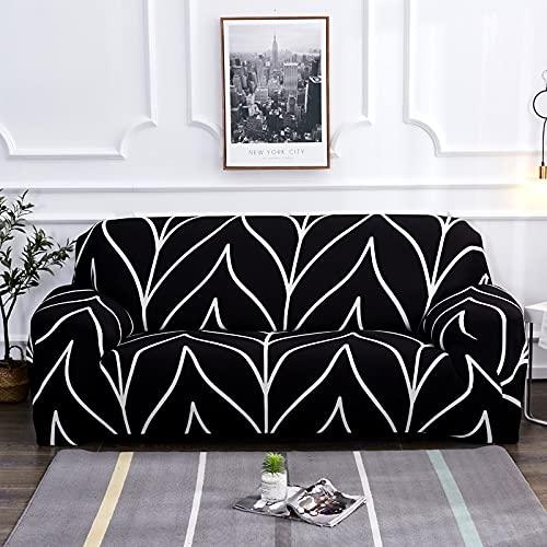 PPOS Funda de sofá elástica Estampada geométrica elástica para Sala de Estar Funda seccional Safa Funiture Protector A12 3 Asientos 190-230cm-1pc