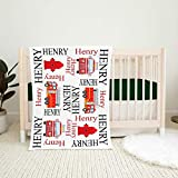 Lani Personalized Blanket- Firetruck Name Blanket, Baby Boy Firefighter Personalized Blanket, Fireman Red Black Fire Truck Nursery Bedding, Baby Gift, Best Gift for Family 38