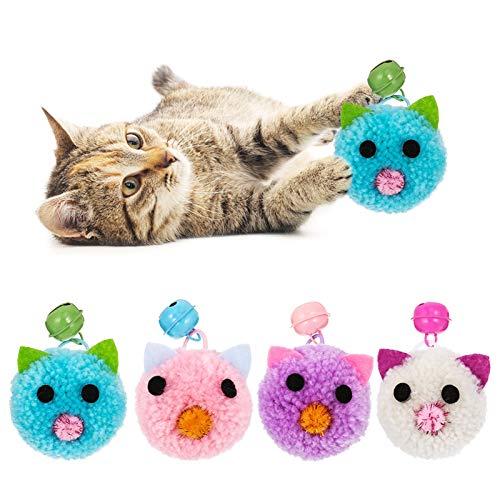 Firtink 4PCS Cat Interactive Toys Ball, Interaktive Mäusespielzeug für Katzenspielzeug Mausspielzeug für Hauskatzen/Kätzchen mit Glocke