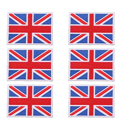 PRETYZOOM Parche Bordado de British Union Jack Bandera de Inglaterra Reino Unido Gran Bretaa Hierro en Coser Emblema Arte Parches Artesanales para Ropa Chaqueta Disfraz Sombrero 6 Piezas