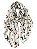 GERINLY Floral Birds Lovers Scarfs Spring Summer Shawls and Wraps for Evening Dresses (Ivory White)