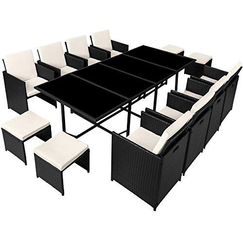 TecTake Poly Rattan 8+4+1 Sitzgruppe | 8 Stühle 4 Hocker 1 Tisch | inkl. Schutzhülle & Edelstahlschrauben | - Diverse Farben - (Schwarz | Nr. 402831) - 7