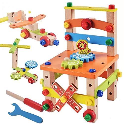 JIASHU Holzbaukasten Hammer Spielzeug, DIY Block Schrauben Set Aktivität Arbeitsstuhl Baukästen Holzspielzeug, Kind Kinder Lernspielzeug Stuhl Designer