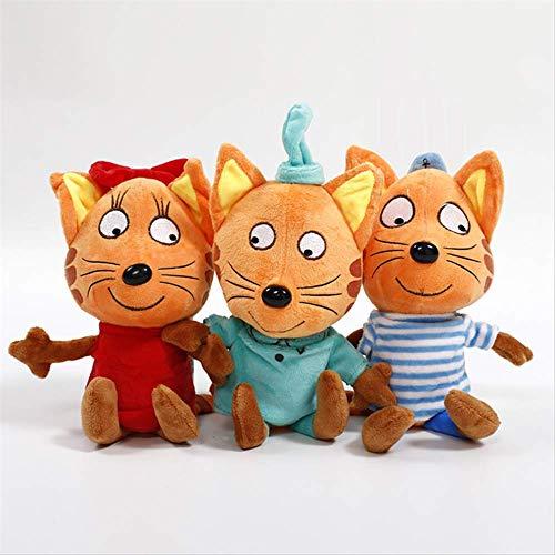 Xin Yao Store Plüschtier 3 Stück/Los DREI Kätzchen Cartoon Happy Kittens Cat Gefüllte Plüschtiere Weiches Katzenspielzeug Puppe Kinderspielzeug